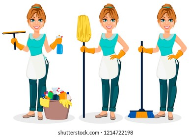 Happy housewife. Cheerful mother, beautiful woman, set of three poses. Cartoon character with cleaning agents, with broom and with mop. Vector illustration on white background.