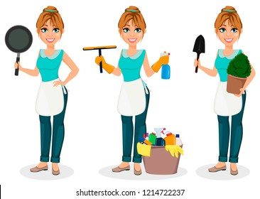 Happy housewife. Cheerful mother, beautiful woman, set of three poses. Cartoon character holds frying pan, holds cleaning agents and holds shovel and flowerpot. Vector illustration