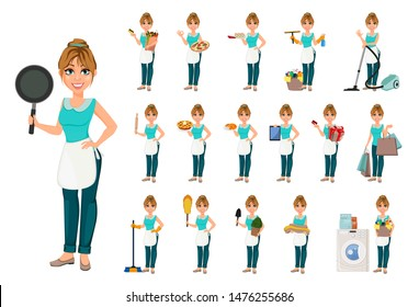 Happy housewife, set of seventeen poses. Cheerful mother, beautiful woman. Cartoon character. Vector illustration on white background.