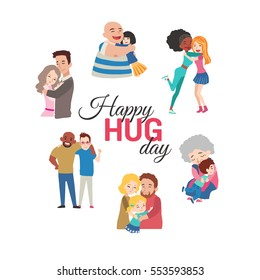 Happy hug day background with vector cartoon characters.