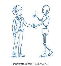 Happy humanoid robot with business woman talking and shaking hands. Concept for coworking with artificial intelligence. Hand drawn blue line art cartoon vector illustration.