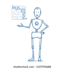 Happy humanoid robot with maze in hand. Artificial intelligence concept for solving problems easily. Hand drawn blue line art cartoon vector illustration.