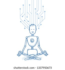Happy humanoid robot in meditation pose with circuit board structure connected to its head. Concept for deep learning of artificial intelligence. Hand drawn blue line art cartoon vector illustration.