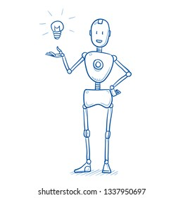 Happy humanoid robot presenting its idea with light bulb icon. Artificial intelligence concept for creativity. Hand drawn blue line art cartoon vector illustration.