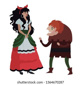 happy hunchback with beautiful gipsy