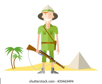 happy hunter person with retro pith helmet   and gun vector illustration, in flat style, for safari design
