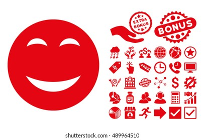 Happy icon with bonus elements. Vector illustration style is flat iconic symbols, red color, white background.