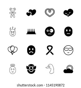 Happy icon. collection of 16 happy filled and outline icons such as surprised emot, cake, heart, sun, cool emot in sunglasses. editable happy icons for web and mobile.