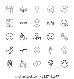 Happy icon. collection of 25 happy outline icons such as goose, baby food, bike, swing, man with laptop, wink emoji, sad emoji. editable happy icons for web and mobile.