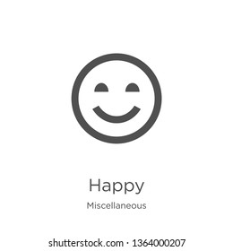 happy icon. Element of miscellaneous collection for mobile concept and web apps icon. Outline, thin line happy icon for website design and mobile, app development