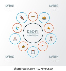 Happy icons colored line set with birthday dessert, pie, petard and other tart elements. Isolated vector illustration happy icons.