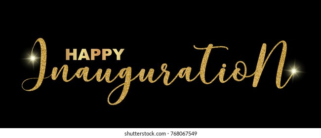 Happy Inauguration handwritten festive text isolated on black background, vector illustration. Hand drawn lettering, sparkles, creative graphic design for banners, invitations, greeting cards.