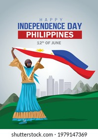 happy Independence day 12 th june Happy independence day of Philippines , girl standing with Philippine flag. vector illustration. greeting card design.