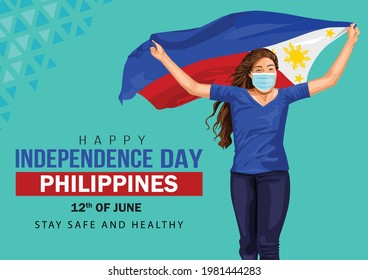 happy Independence day 12 th june Happy independence day of Philippines , girl running with Philippine flag. vector illustration. greeting card. covid 19, coronavirus concept.