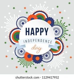 Happy Independence day, 15th August national holiday. Festive greeting card, invitation with fireworks, wheels and bunting party decorations in Indian flag colors. Vector illustration background.