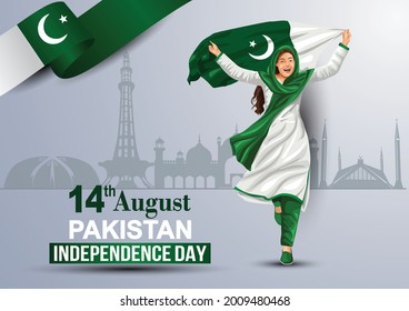 happy independence day 15th August, girl running with Pakistani flag. vector illustration. greeting card design