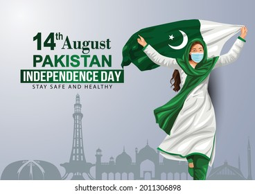 happy independence day 15th August, girl running with Pakistani flag. vector illustration. greeting card design. covid -19, corona virus concept