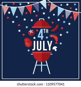 Happy Independence day, 4th July national holiday. Festive greeting card, invitation with bunting flags decoration, barbecue food symbols and stras in USA flag colors. Vector illustration background,