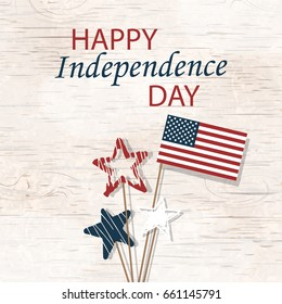 Happy Independence Day 4th july. Design Template background with hand drawn stars in national colors, American Flag for greeting cards, posters, banner, leaflets, brochure. Vector illustration.