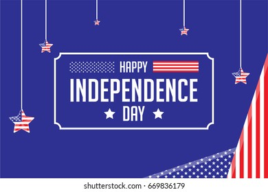 Happy Independence Day - 4th of July - American Flag .Greeting. Celebrate
