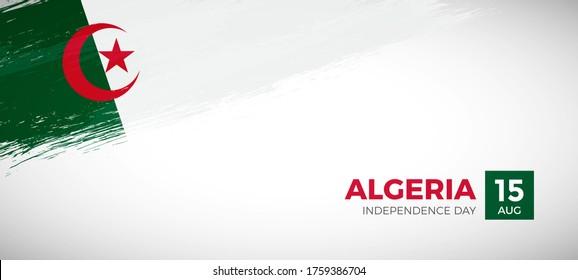 Happy independence day of Algeria. Brush painted grunge flag of Algeria country. Elegant brush flag vector background