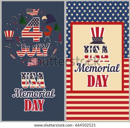 Happy independence day america greeting posters stock vector happy independence day of america greeting posters vector illustration m4hsunfo