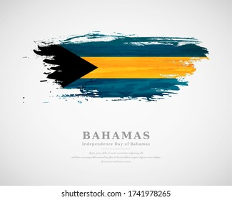 Happy independence day of Bahamas with artistic watercolor country flag background