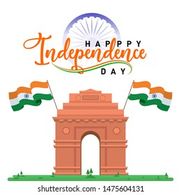 Happy Independence Day Banner, Concept, Template, Logo Design, Icon, Poster, Unit, Label, Web Header, Mnemonic with India Gate Delhi against Ashok Chakra in background and Waving indian flags - Vector