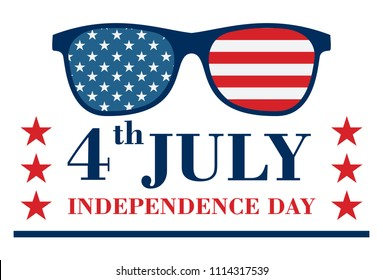 Happy Independence Day Banner and Glasses with stars and strips