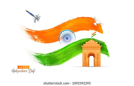 Happy Independence Day, banner, poster or flyer design with India Gate, Indian flag waving, fighter aircraft, dove flying and Ashoka Chakra.