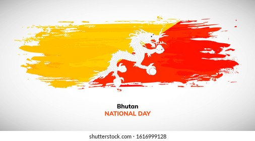 Happy independence day of Bhutan. Brush flag of Bhutan vector illustration. Abstract watercolor concept of national brush flag background. Brush stroke background.