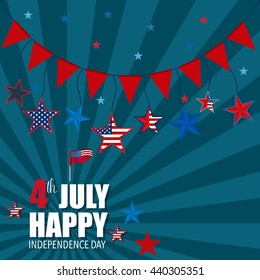 Happy independence day card, 4th of July, Vector abstract background.