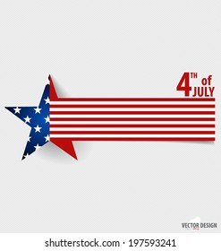 Happy independence day card United States of America. American Flag paper design, vector illustration.