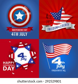 Happy independence day card. Independence day United States of America.4 th of July. Red blue background.