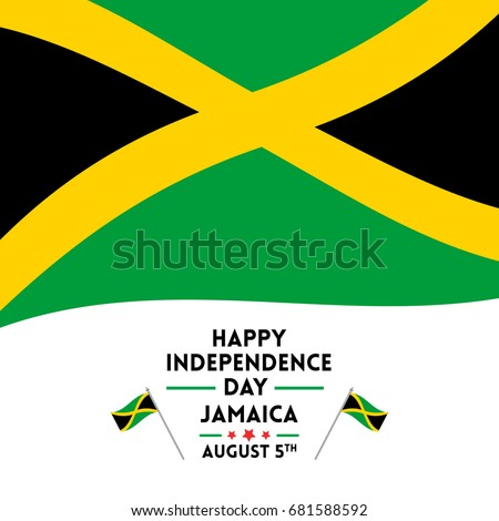 Happy Independence Day Celebration Jamaica Greetings Stock Vector