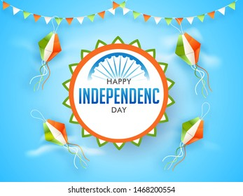 Happy Independence Day celebration poster or template design decorated with tri color paper lantern and party flag on sky blue background.