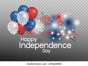 Happy independence day concept design of balloon with firework on transparency background vector illustration