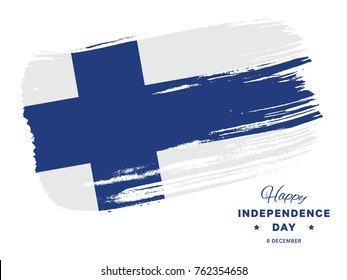 happy independence day of finland banner layout design with text and national flag in brush stroke style on a white background