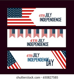 Happy Independence Day flag of USA with text background america holiday vector illustration. USA Independence Day banner in vintage freedom patriotic 4th july style.