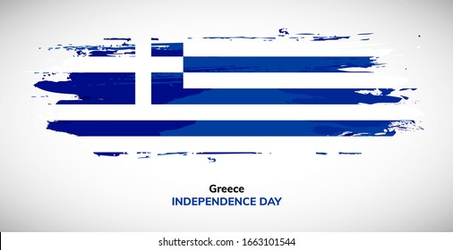 Happy independence day of Greece. Brush flag of Greece vector illustration. Abstract watercolor concept of national brush flag background.