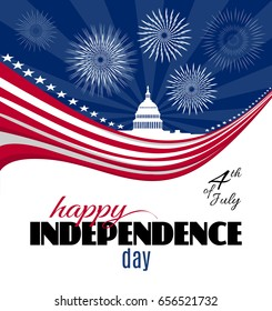 Happy Independence day greeting card or poster template. Patriotic American background with abstract USA flag and White house and Capitol building Washington DC symbol. Vector illustration.