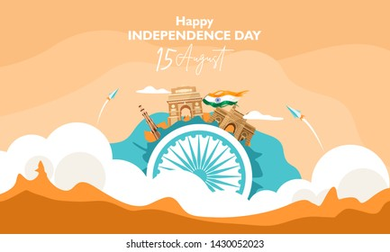 Happy independence day india. 15 august. The concept on the cloud . For flyer, poster, banner background design. With heritage building composition on ashoka wheel. Vector illustration