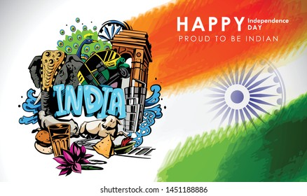 Happy Independence Day of India for 15th August.Famous monument of incredible India in Indian background. Vector illustration EPS10