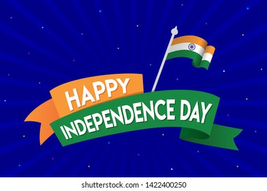 Happy Independence Day of India, Concept, Template, Banner, Logo Design, Icon, Poster, Unit, Label, Web Header, Mnemonic with Blue Celebration Rays  Background - Vector, illustration