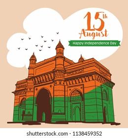 happy independence Day of india. gateway of india