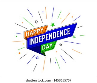 Happy Independence Day of India, Logo Design, Concept, Template, Banner, Icon, Poster, Unit, Label, Web Header, Mnemonic with Celebration confetti on white Background - Vector, illustration