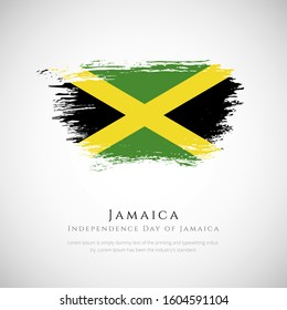 Happy independence day Jamaica greeting background. Creative Independence day of Jamaica patriotic background with Jamaica brush stroke national flag.