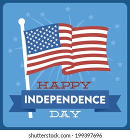 Happy Independence Day - July 4th - Fourth of July - American Flag Vector with Fireworks - Blue