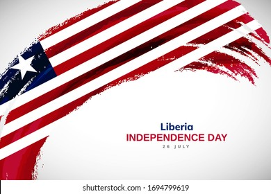 Happy Independence day of Liberia. Watercolor brush stroke flag background. Creative national country flag with Abstract watercolor grunge brush flag.