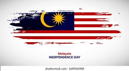 Happy independence day of Malaysia. Brush flag of Malaysia vector illustration. Abstract watercolor concept of national brush flag background.